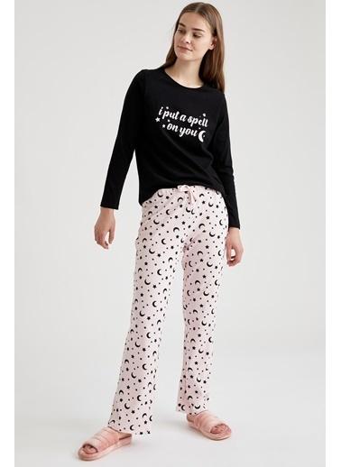 Defacto –Fit Baskılı Pijama Takımı Siyah